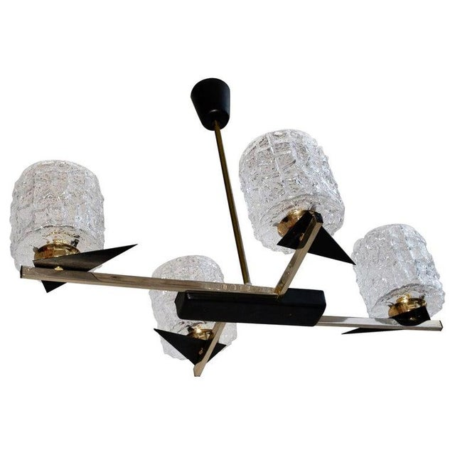 Metal Midcentury French Chandelier with Glass Shades Design by Maison Arlus For Sale - Image 7 of 7