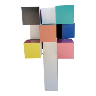 St. Louis Scopia Nine Rotating Cubes Painted Wood Sculpture by Sanders Saunders For Sale