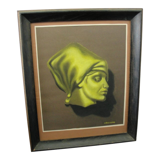 Vintage Pastel Chalk Drawing Portrait of a Woman by J. Sucarino For Sale