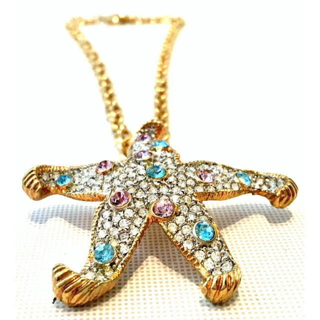 Contemporary 21st Century K. Lane Gold & Swarovski Crystal Starfish Pendant Necklace For Sale - Image 3 of 10