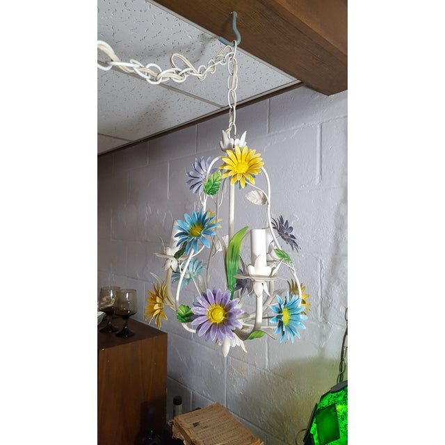 1970s 1970s Italian Floral Pastel Tole 3 Light Statement Chandelier For Sale - Image 5 of 8
