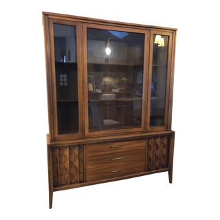 1960s Mid-Century Modern Walnut Hutch Cabinet For Sale