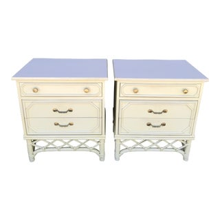 Vintage Ficks Reed Three Drawer Nightstands For Sale