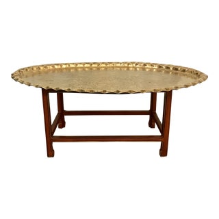 Oval Brass Tray Coffee Table