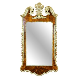 George II Walnut and Parcel Gilt Mirror For Sale