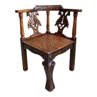 Antique French Carved Oak Corner Arm Chair Renaissance Louis XIV Style For Sale
