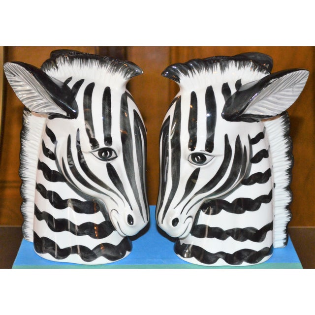 1970s 1970s Boho Chic Fitz & Floyd Porcelain Zebra Bookends - a Pair For Sale - Image 5 of 10