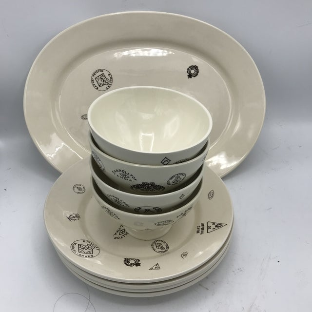 Sir/Madam Maker's Mark Themed Tableware - 4 Bowls, 4 Dinner Plates, 1Platter -- Set of 9 For Sale - Image 4 of 7