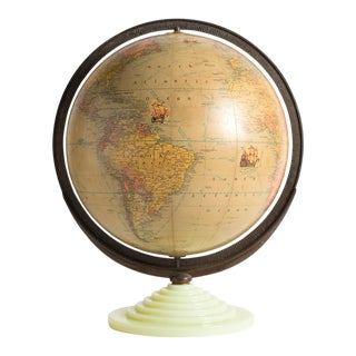 Rand McNally Art Deco Terrestrial Table Globe For Sale