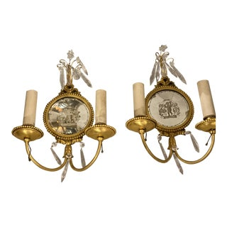 Caldwell Mirrored Backplate Gilt Bronze Sconces - a Pair For Sale