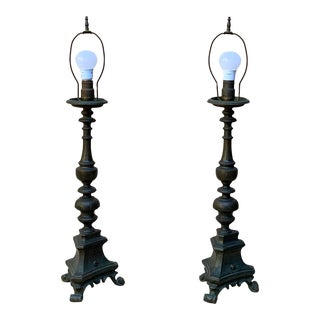Antique Baroque Brass Pricket Stick Lamps - a Pair For Sale