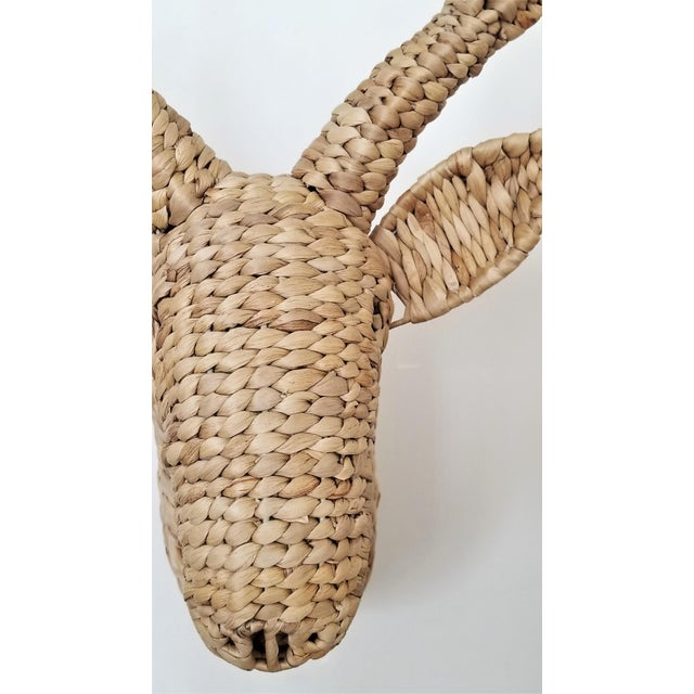 Brown Seagrass Raffia Wicker Stag Wall Sculpture-Mid Century Modern Tropical Coastal Nautical Rattan Bamboo Tree Taxidermy Antler Mario Lopez Torres For Sale - Image 8 of 13