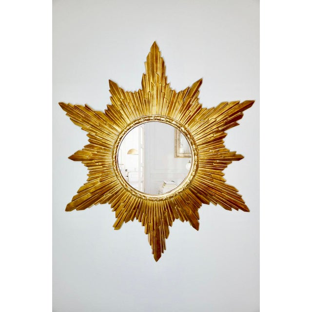 Gold Vintage Gold Resin Frame Sunburst Convex Mirror For Sale - Image 8 of 8