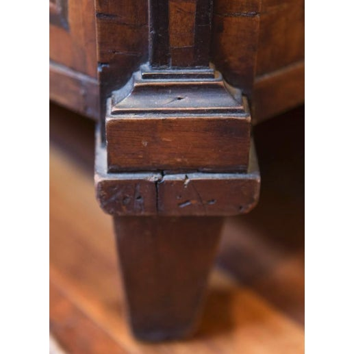 Wood 18th Century Italian Walnut Veneered Commode With White Marble Top For Sale - Image 7 of 11