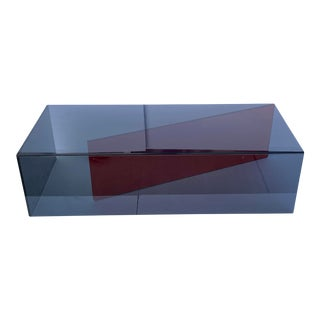 Smoked Gray & Red Glass Coffee Table For Sale