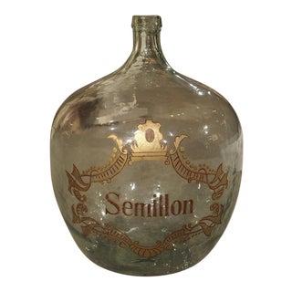 Large Hand Blown Semillon Demijohn Bottle from France For Sale