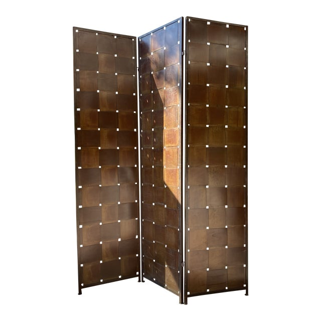 Woven Metal Folding Room Divider Screen 3-Panel For Sale