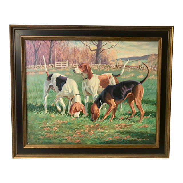 Three English Fox Hound Dogs Fox Hunt Oil Painting For Sale
