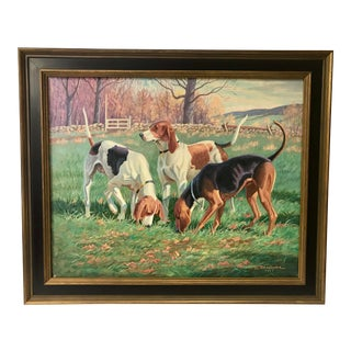 Three English Fox Hounds Dogs Fox Hunt Oil Painting For Sale