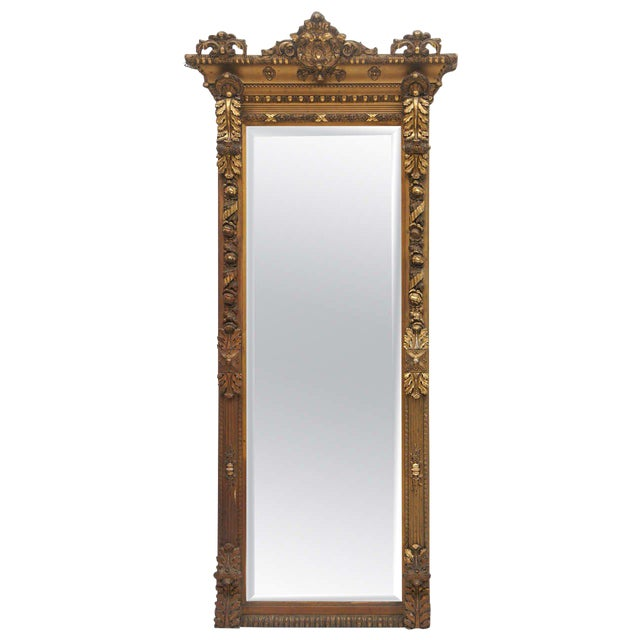 Gold Gilded Floor or Mantle Mirror - Image 1 of 9