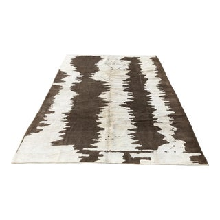 Turkish Floor Oversize Handwoven Brown and White Hemp Rug