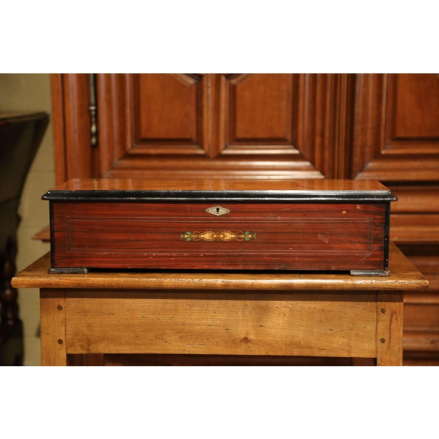 Brown Large 19th Century Swiss Inlaid Walnut Cylinder Zither Music Box With 12 Songs For Sale - Image 8 of 11