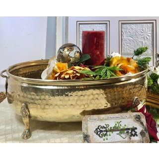 Traditional Hand Hammered Brass Large Oval Footed Planter with Lion Feet & Handles Preview