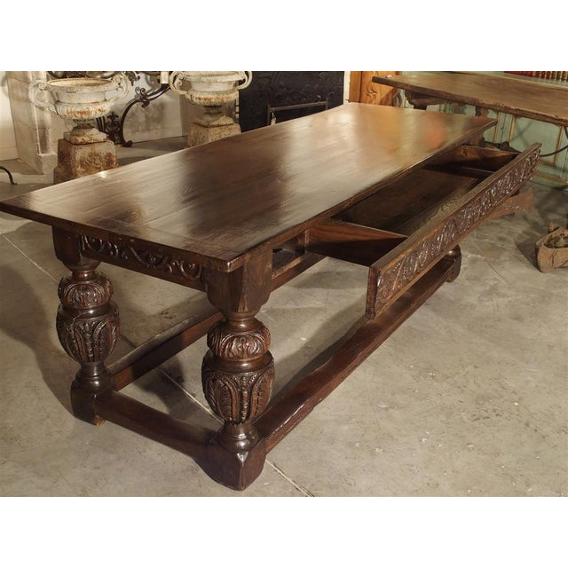 Traditional Antique Oak Elizabethan Style Table, England 19th Century For Sale - Image 3 of 13