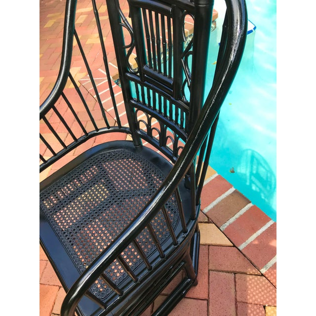 Vintage Brighton Pavilion Chinoiserie-Style Black Lacquered Bamboo and Rattan Chairs- a Pair For Sale - Image 11 of 13