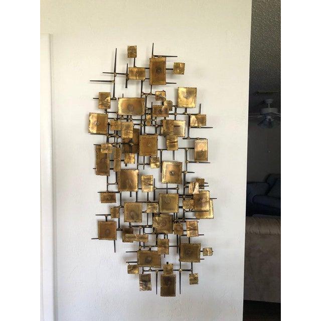 1960s Brutalist Brass Wall Sculpture | Chairish