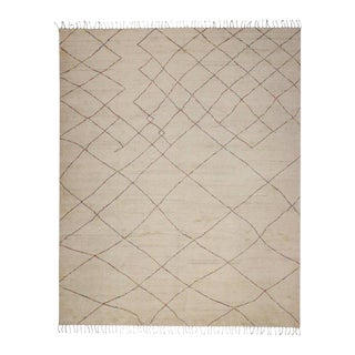 Contemporary Moroccan Style Rug With Organic Modern Style With a Pop of Color For Sale