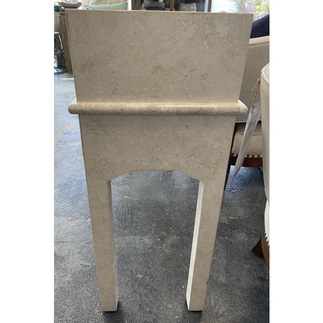 Postmodern Art Deco - Post Modern Limestone Console Table For Sale - Image 3 of 5