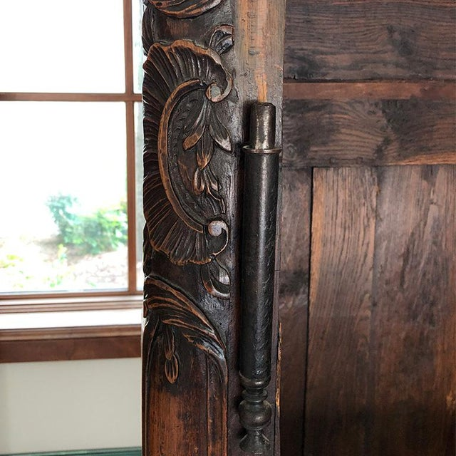 18th Century Louis XV French Provincial Carved Armoire or Wardrobe With Figural Crown France 1700s For Sale In Oklahoma City - Image 6 of 13