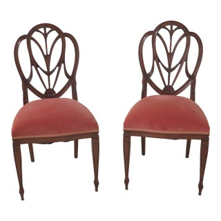 1990s Vintage Federal Style High Shield Back Carved Side Chairs- A Pair For Sale