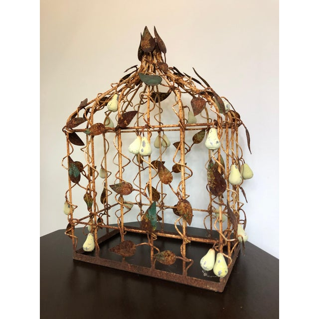 Rustic Early 20th Century Tole Birdcage For Sale - Image 3 of 7