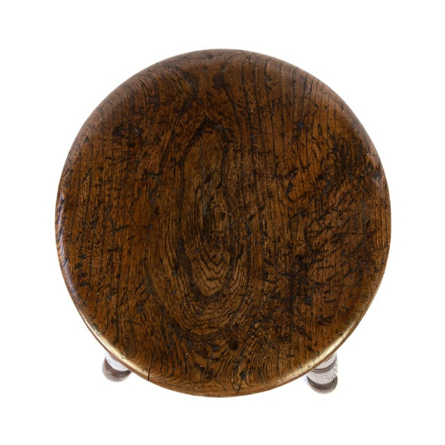 Late 19th Century Round Fruitwood Work Stool With Four Turned Legs, Circa 1870 For Sale - Image 5 of 6