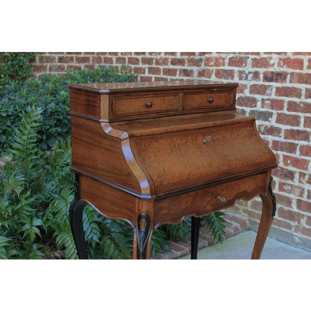 Antique French Birds Eye Maple Fall Front Secretary Desk Bureau For Sale - Image 10 of 13