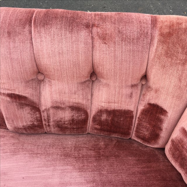 Vintage Mauve Velvet Hollywood Tufted Club Chairs - Pair - Image 7 of 11