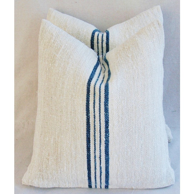 Blue Striped French Grain Sack Pillows - A Pair - Image 2 of 11