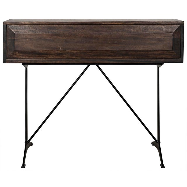 Contemporary Croft Desk with Metal, Ebony Walnut For Sale - Image 3 of 12