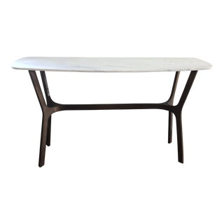 Crate + Barrel Elke Marble Console Table For Sale