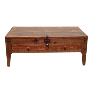 Vintage Spanish Style Brown Coffee Table W Table Top Compartment Made in Mexico For Sale