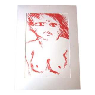 "1970s Vintage Suzanne Peters ""Face"" Limited Edition Signed Nude Woman Figural Lithograph For Sale"