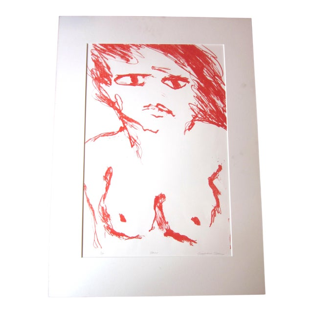 """1970s Vintage Suzanne Peters """"Face"""" Limited Edition Signed Nude Woman Figural Lithograph For Sale"""