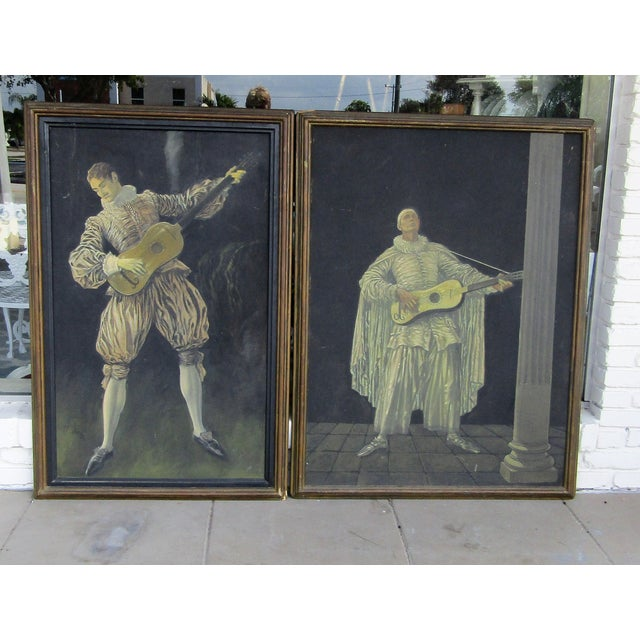 Oil paintings on board by German born painter Herman Heyer (1876-1950). The two panels are slightly different in size:...