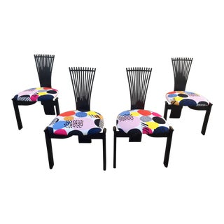 Art Deco Torstein Nilsen Patterned Cushion Black Fan Backed Dining Chairs - Set of 4 For Sale