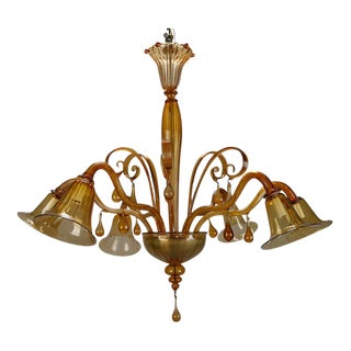 Large Amber Color Six Arm Venini Chandelier