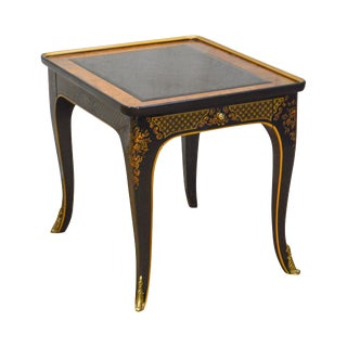 Drexel Heritage Et Cetera Chinoiserie Ebonized & Burl Wood 1 Drawer Side Table