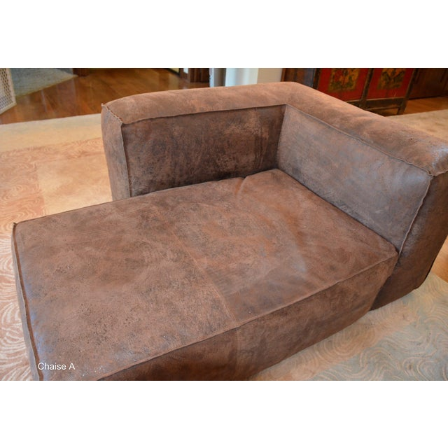 Leather Modern Restoration Hardware Distressed Leather Sectional with Left Chaise + One Armchair For Sale - Image 7 of 12