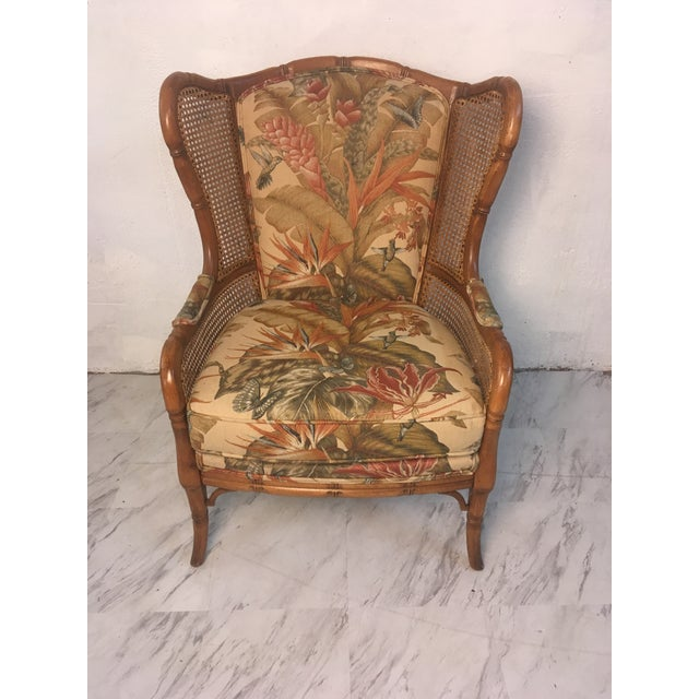 Vintage Cane Wingback For Sale - Image 4 of 9
